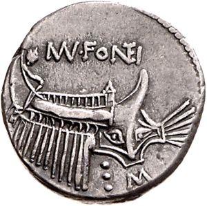 Denario - argento - Roma Repubblicana (108-107 a.C.) -  MN FONTEI prora di nave da guerra vs.dx. - Münzkabinett Berlin
