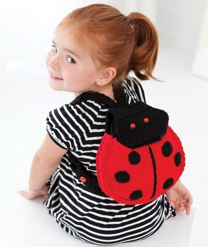 Lady Bug Backpack - Free crochet pattern from Red Heart Yarn