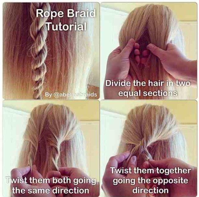 Rope Braid Tutorial Hair Styles Pinterest Braid