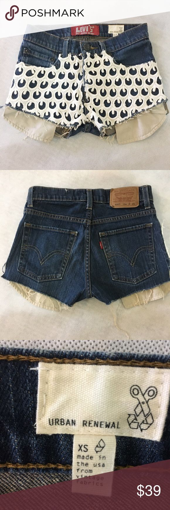 Levi's Urban outfitters shorts Like new condition. True to size. Levi's urban renewal 510 model. From urban outfitters. Made in USA . %99 cotton %1 elastic. Made with real vintage fabrics. Very special piece. Urban Outfitters Shorts Jean Shorts
