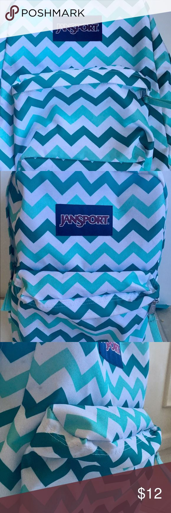 JANSPORT backpack Green chevron backpack by JANSPORT. Outside zippered pocket. Used but Great condition. Some stray pen marks. Jansport Bags Backpacks