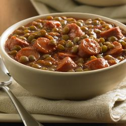 Lentils:  Lentils and Vienna sausages simmered in a tomato sauce