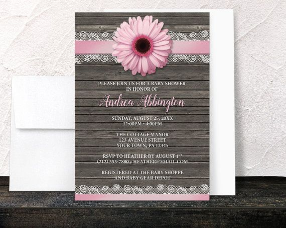 Thank you, Lisa in California, for your purchase of these Pink Daisy Baby Shower Invitations - Lace Ribbon Rustic Country Wood Floral Pink and Brown, by ArtisticallyInvited. (9/10/2016)