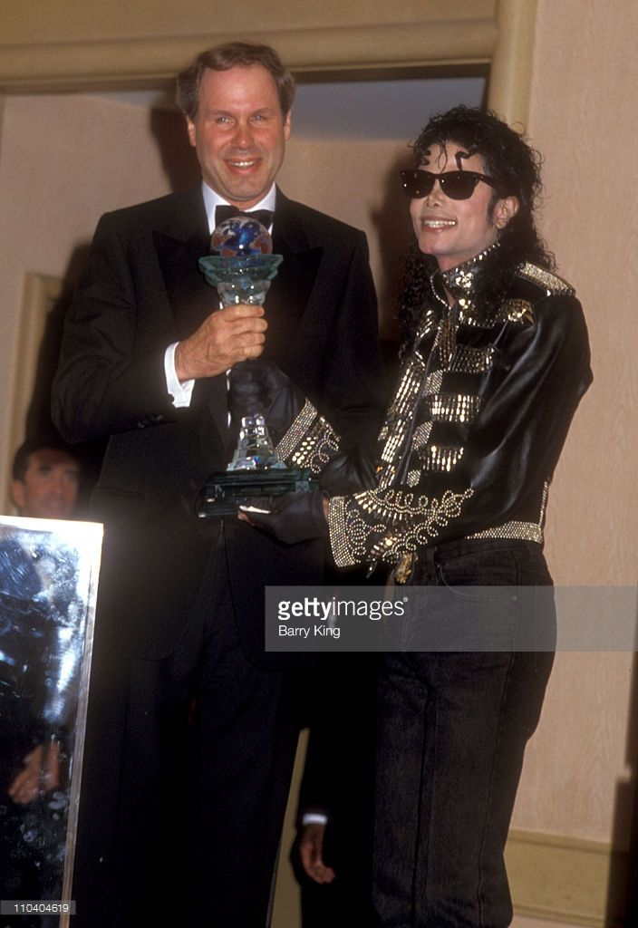 "MJ and Walt Disney chairman Michael Eisner who presents Michael with the first ever ""Michael Jackson Good Scout Humanitarian Award Century Plaza Towers, Century City September 14 1990"