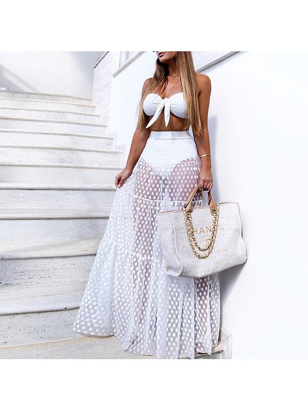 Hot Women High Waist Sheer Mesh Tulle Lace See-Through Floral Maxi Skirt Dress