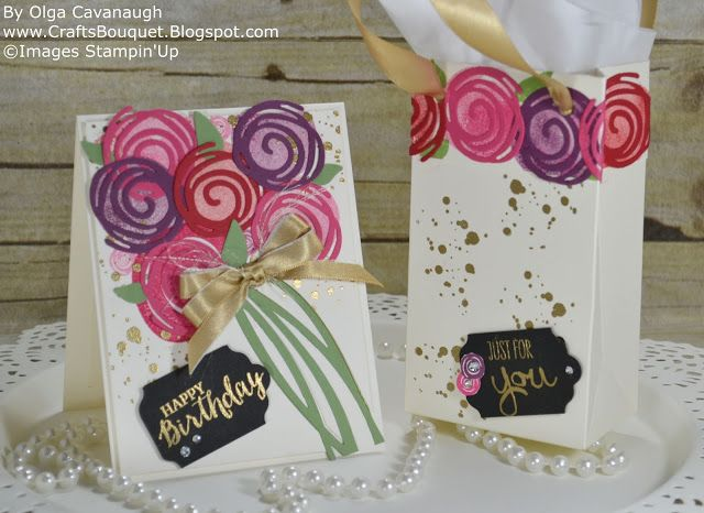 Stampin'Up Birthday Card and Gift Bag using the Swirly Bird Stamp set and Swirly Scribbles thinlits Bundle.
