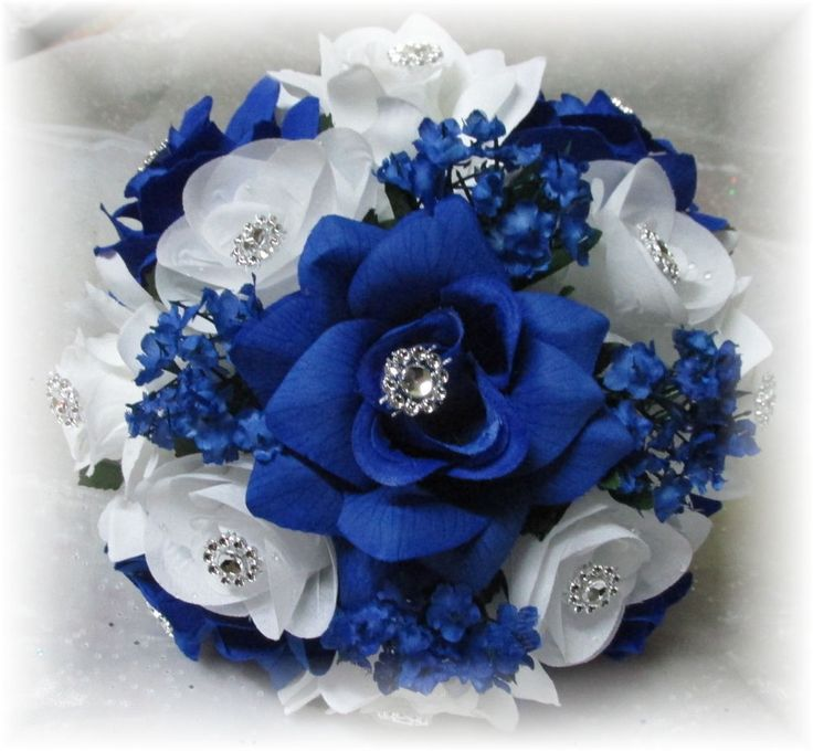 "2 Pc Wedding Bouquet W/Boutonniere. Royal Blue Horizon Blue  ""YOUR COLOR"""