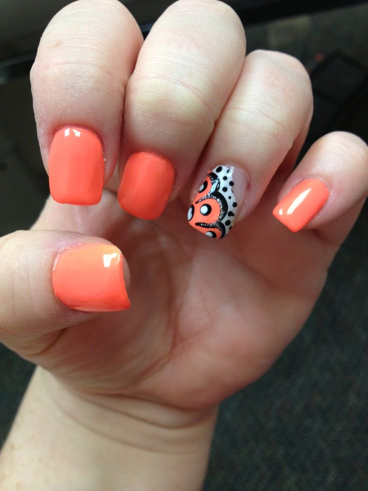 Neon orange nails...#foreverfrench - The 145 Best Images About Orange Nail Art On Pinterest Nail Arts