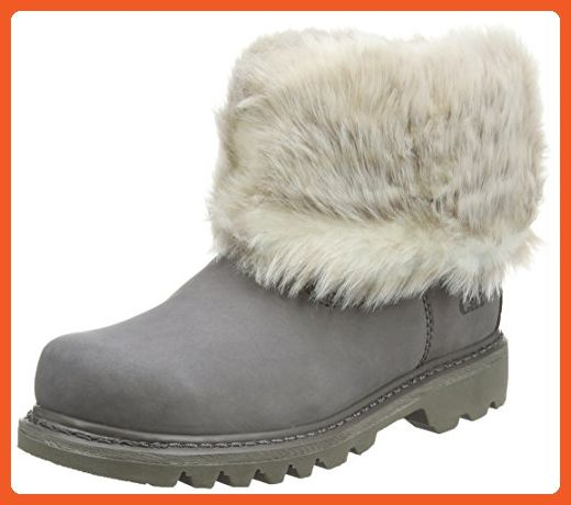 Ladies Caterpillar Casual Ankle Boots Bruiser Scrnch Fur - Frost Gray Leather - UK Size 8 - EU Size 41 - US Size 10 - Boots for women (*Amazon Partner-Link)