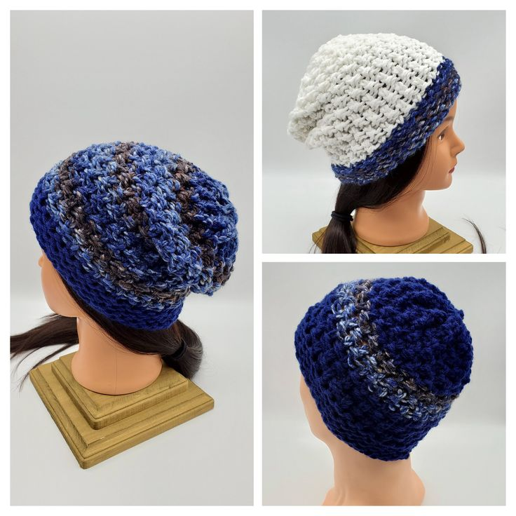 Womens Mens fall winter knit hat Ski style hat blue knit hat Slouchy beanie Winter cap Unisex knit hat Fishermen Fashion Grunge Hipster – Hand made knit hats
