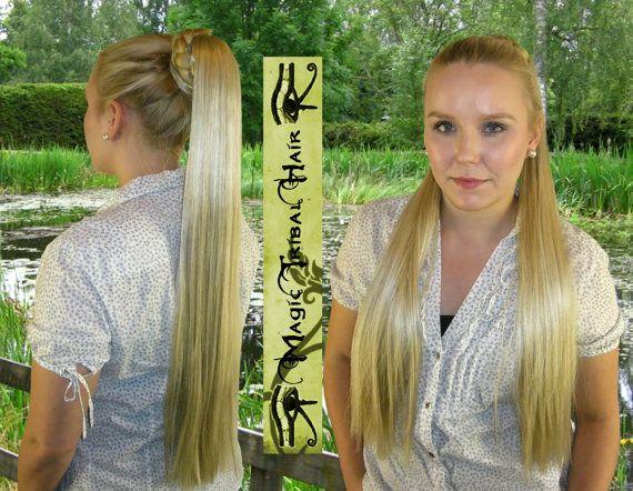 HAIR FALL size L Rapunzel hair extension CUSTOM colour & structure 22''/55 cm Cosplay Larp hair piece Medieval bride Renaissance wedding wig