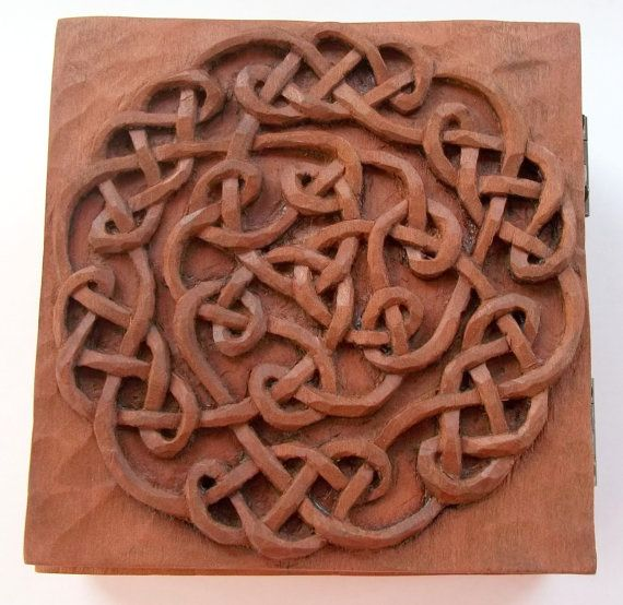 Celtic box wood carving handmade woodcarving
