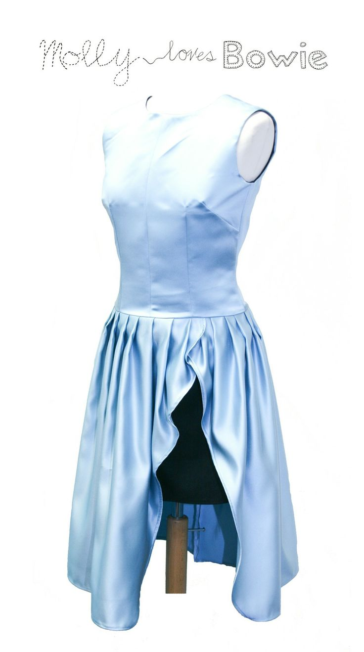 Blue Satin Slit Dress via Molly loves Bowie. Click on the image to see more!