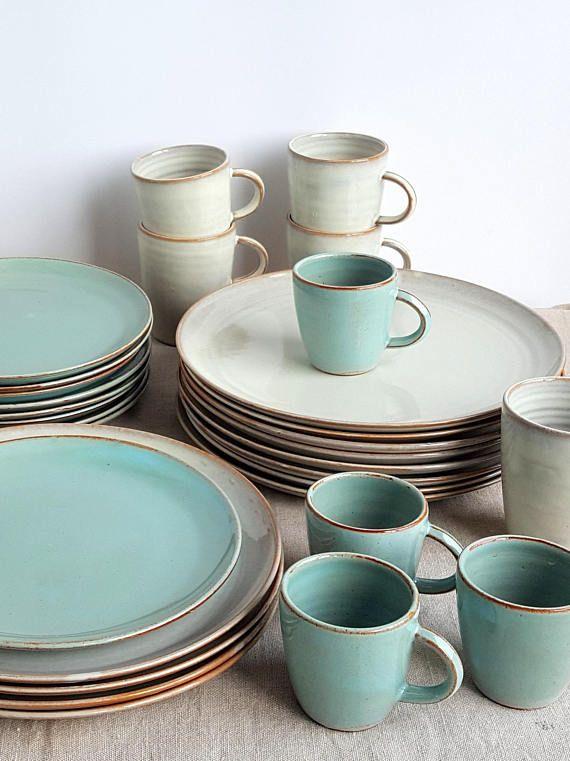 Mix und Match-Geschirr-Set, Steinzeug Geschirr, Keramik Geschirr, 4 Gedeck, weiße Geschirr, Hochzeitsgeschenk, handgefertigte Geschirr
