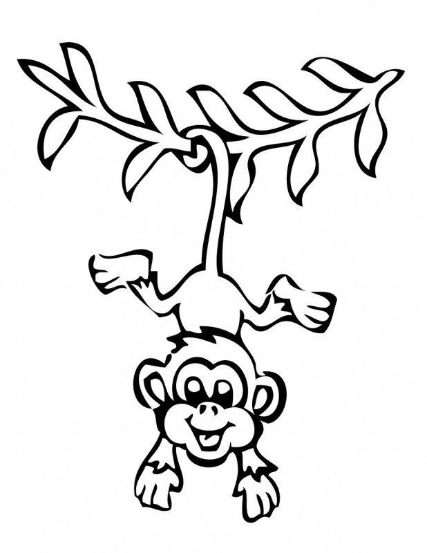 Cute Monkey Coloring Pages Cute Baby Monkey Coloring Pages Monkey Coloring Pages Monkey Drawing Hanging Monkey Drawing