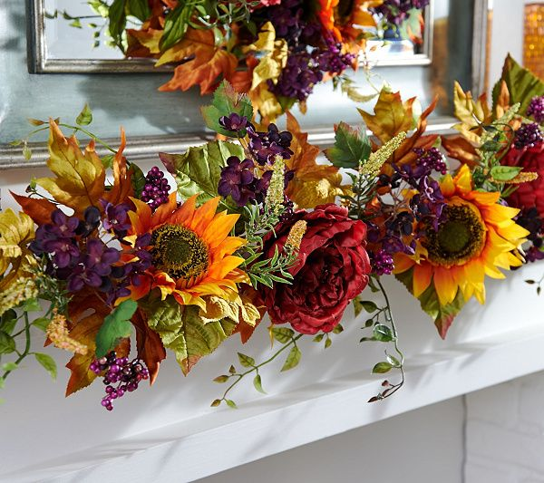 The richness of fall is showcased in this vibrant Valerie Parr Hill garland…