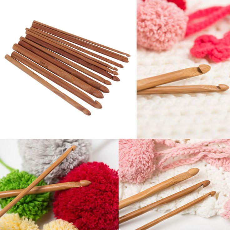 12 boyutları/set kolu tığ kanca bambu örgü örgü İğne örgü iplik seti el sanatları iplik araçları sıcak arama(China (Mainland))