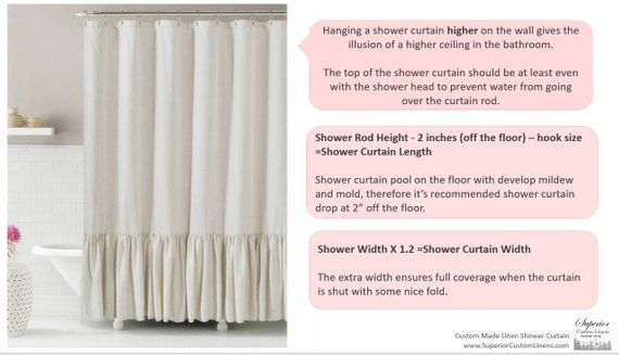Linen Shower Curtain With Mermaid Long Ruffles Make Your Bathroom