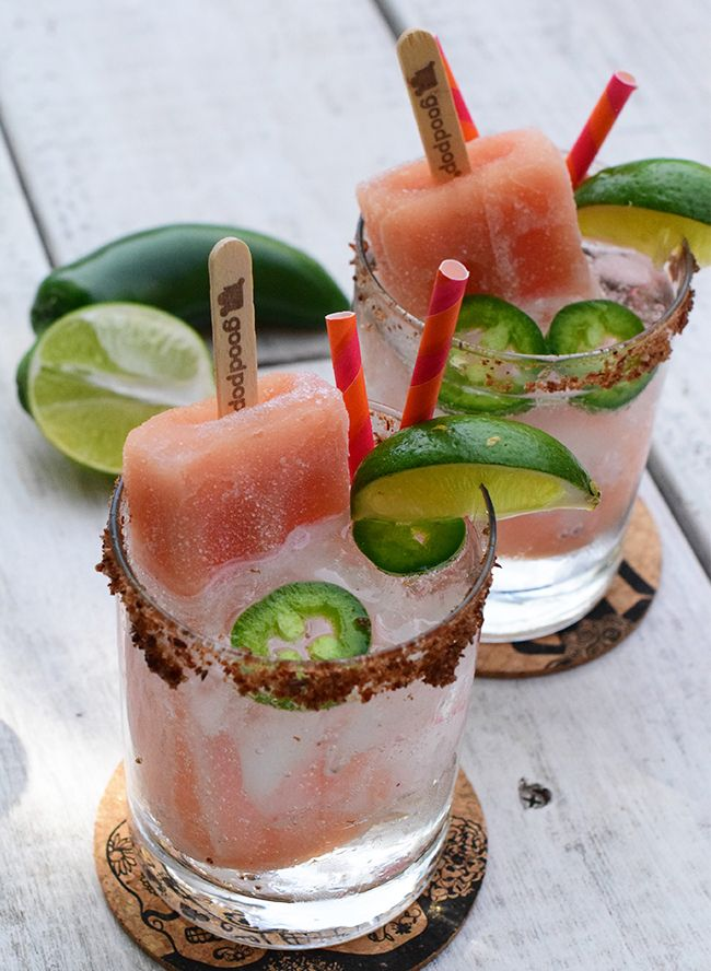 This spicy watermelon margarita poptail (code for popsicle cocktail) is just the kind of afternoon treat we like to enjoy.