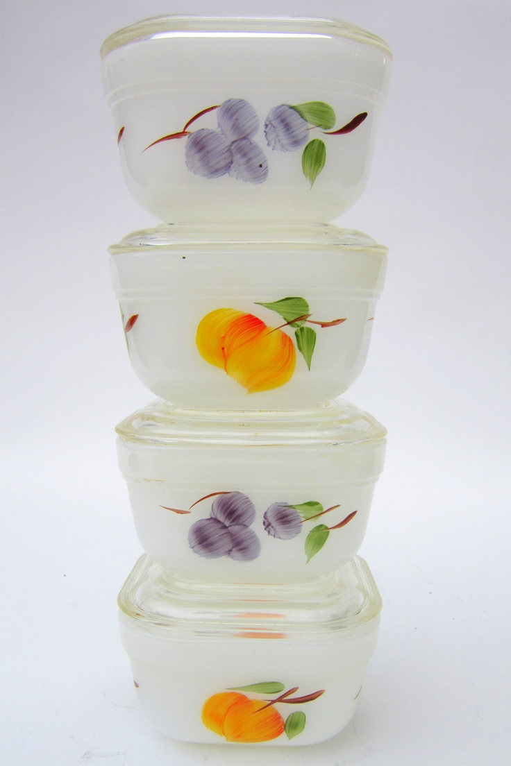 """1950s Fire King """"Gay Fad"""" Refrigerator Dishes with Lids"""