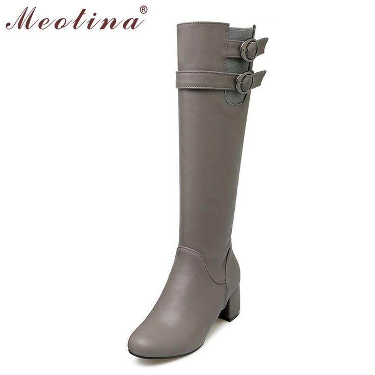 Meotina Knee High Boots Shoes Women Thick High Heel Riding Boots Winter Women Motorcycle Boots Lady Shoes Gray Big Size 10 42 43