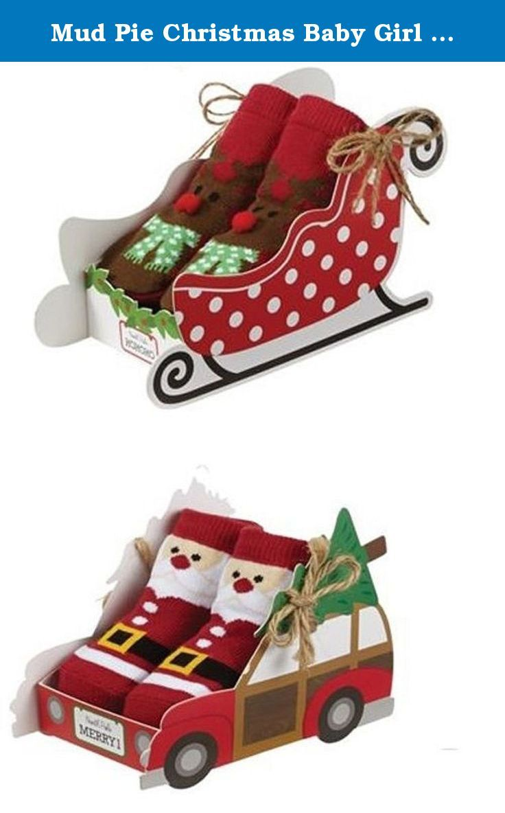Mud Pie Christmas Baby Girl / Boy Box Socks 1542148 (Reindeer Sleigh). Mud Pie is a lifestyle brand offering endless cross-merchandising opportunities. Their Kids, Living and Fashion collections lead the industry with grab-and-go gifts and affordable style-apparel, keepsakes and layette in kids; women's fashion and accessories; and boxed gifts for home entertaining or gifting. This season, Mud Pie is also the go-to resource for initials in every category with over 30 new programs and…