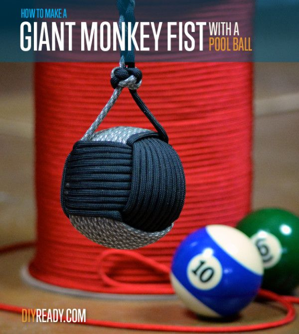 """LOVE this monkey fist. Anybody else try making the """"Giant Monkey Fist"""" with a poolball center?!  http://diyready.com/paracord-projects-how-to-make-giant-paracord-monkey-fist/"""