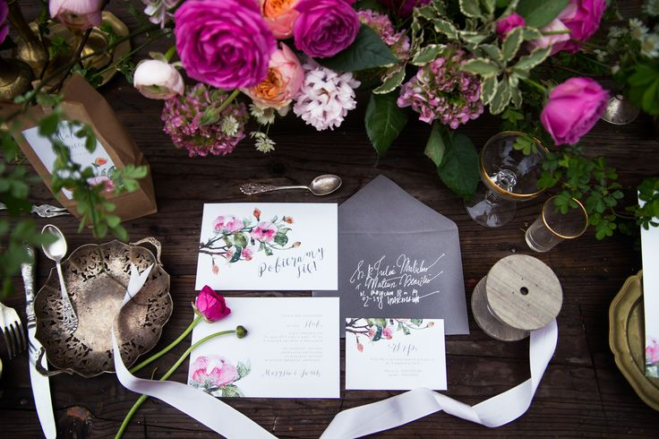 Rose wedding botanical invitations by Love Prints. Floral invitations