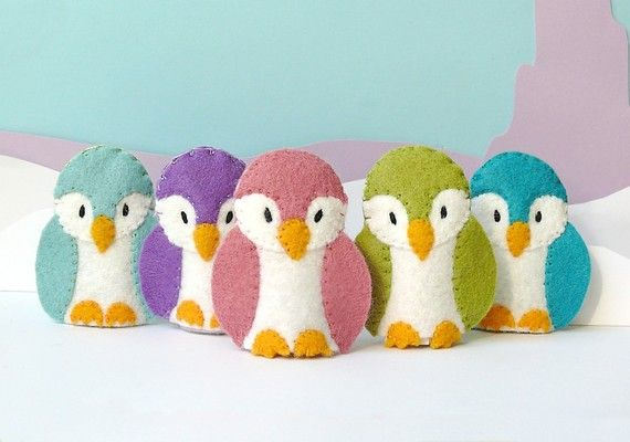 SALE Pastel Penguin Family 5 Wool Felt Finger door stayawake