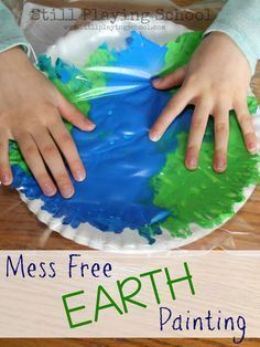 Still Playing School: No Mess Painting in a Bag Earth Craft