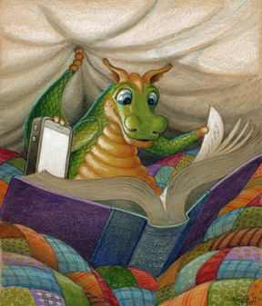 Image result for dragon reading a book
