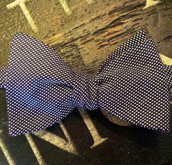 Men's Blue Polka Dot Bow Tie, Polka Dot Bow Tie, Self-Tie or Pre-Tied, Classic White Square Included