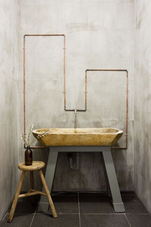 wooden vanity polished concrete exposed copper pipes bathroom sink.  I find this look very zen, I think that it is a stunning detail and so calming. i can imagine being in this room