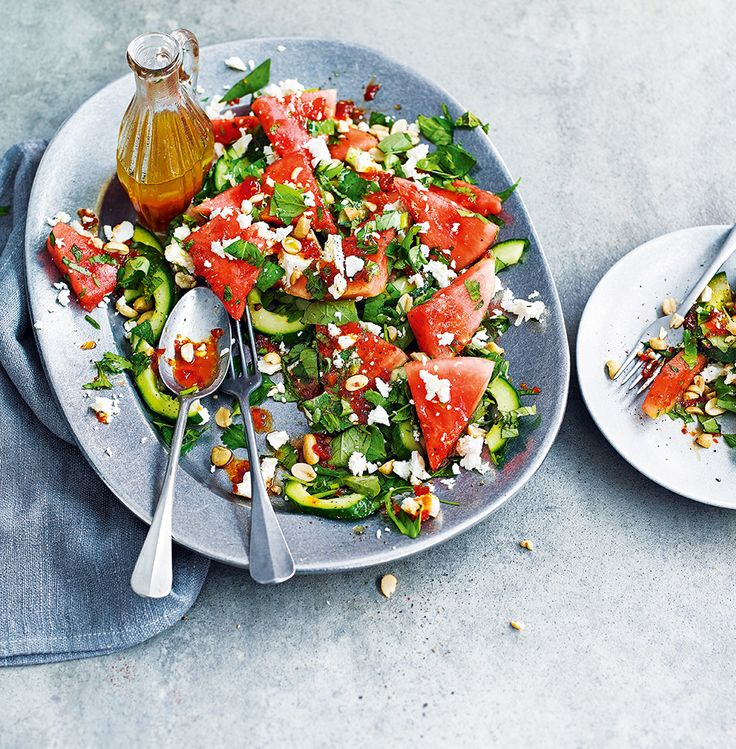 Sweet thirst-quenching watermelon meets salty feta in this centrepiece salad - perfect for a dinner party.