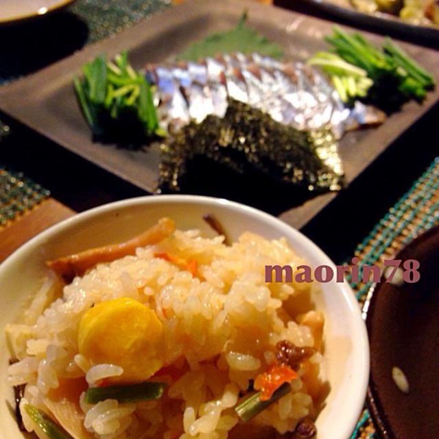 秋に美味しいもの頂きました❤️ - 144件のもぐもぐ - 秋づくし☆栗ご飯とさんまの磯部巻き☆焼きなす by maorin78