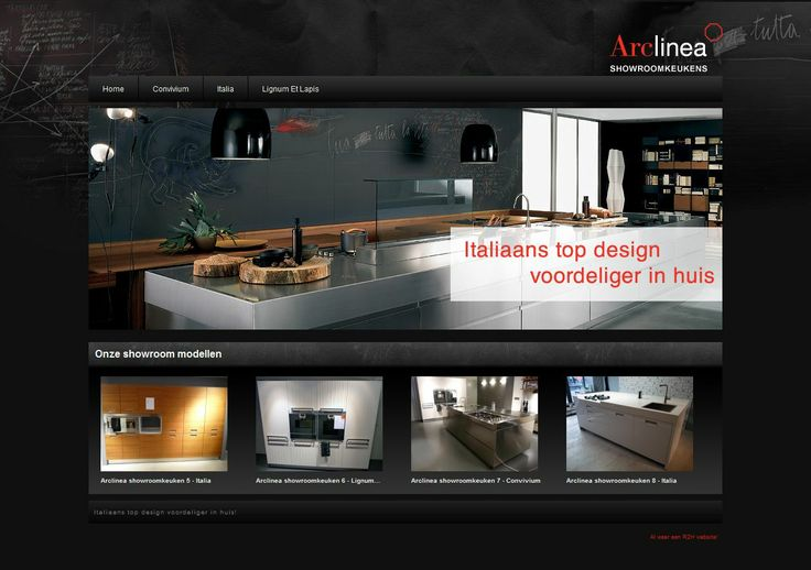 Arclinea Showroomkeukens. Een #webdesign gebouwd in #joomla door R2H Webdesign.