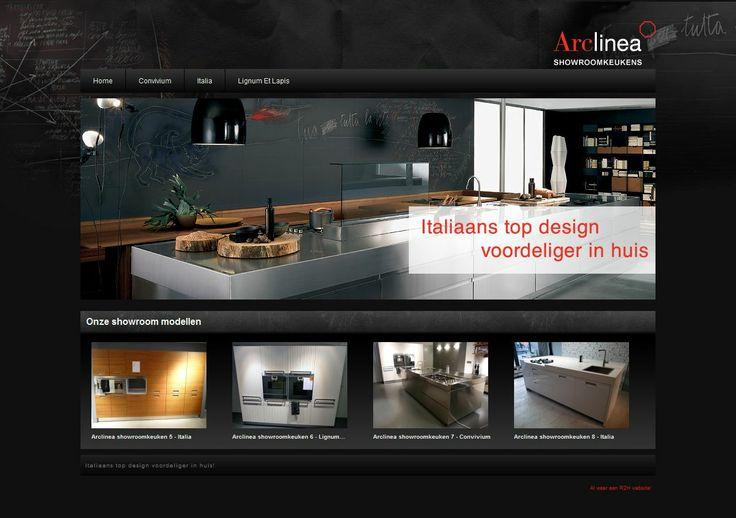 Arclinea Showroomkeukens. Een #webdesign gebouwd in #joomla door R2H Webdesign.