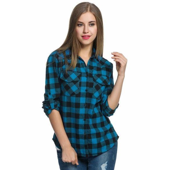 Womens Roll Up Sleeve Casual Loose Boyfriend Plaid Button Down Shirt