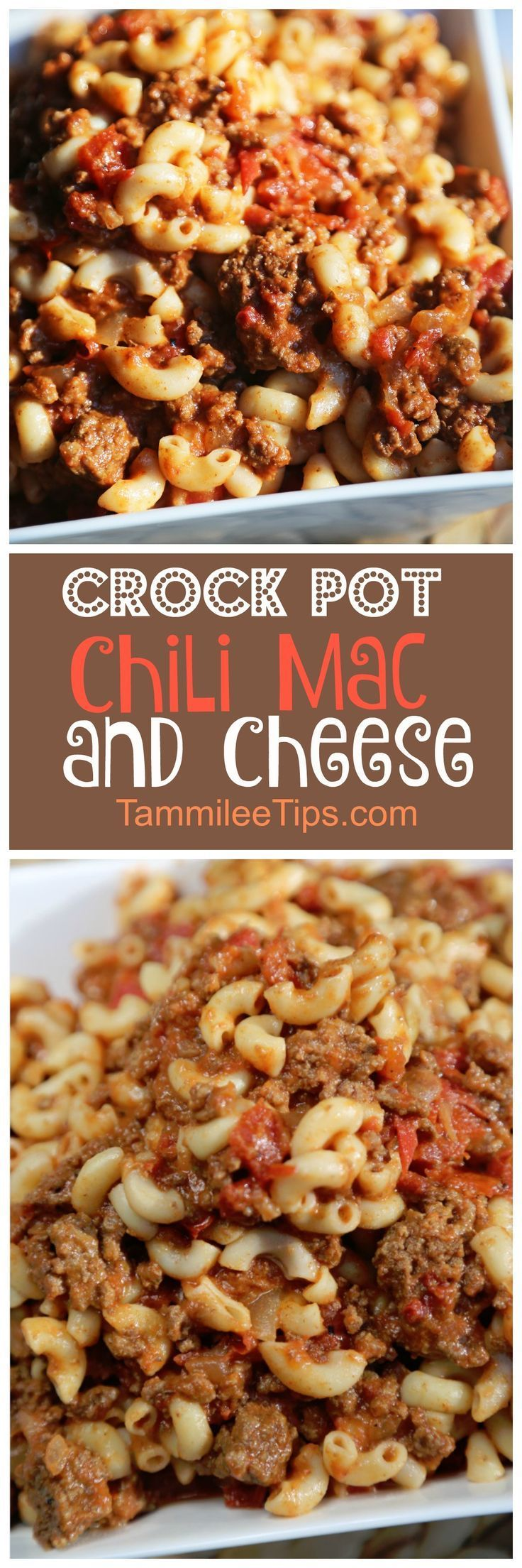 Simple, easy to make Crock Pot Chili Mac and Cheese Recipe! The slow cooker does all the work! Perfect for family dinners! Save your dishes and use the crockpot!  Hamburger, Pasta, Chili and more makes this a delicious recipe everyone will love!  via /tam/