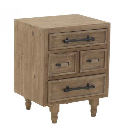 WOODEN BEDSIDE TABLE W_4 DRAWERS IN NATURAL 48X42X60