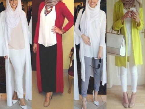 long neutral cardigan- Muslim women hijab trends http://www.justtrendygirls.com/muslim-women-hijab-trends/