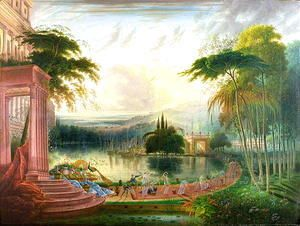 A Romantic Landscape with the Arrival of the Queen of Sheba, c.1830  Samuel Colman
