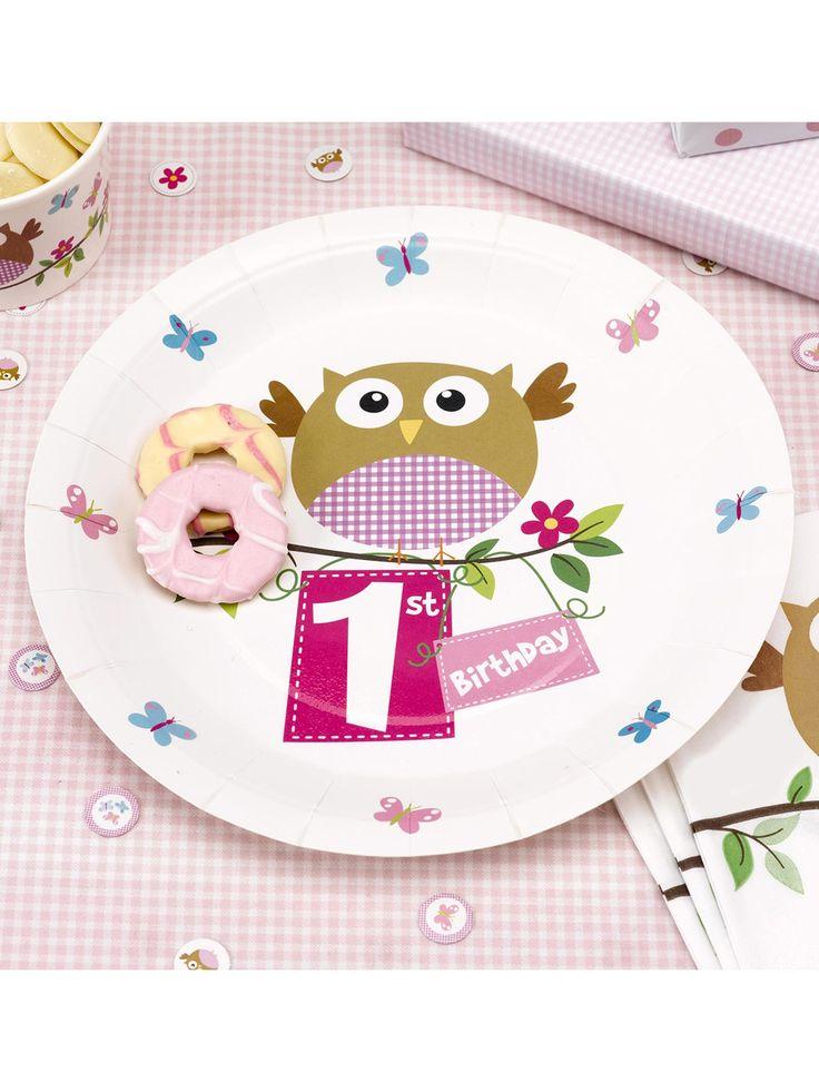 Little Owls Pink 1st Birthday Paper Plates 8pk  sc 1 st  Pinterest & 7 best Little Owl 1st Birthday images on Pinterest | Happy b day ...