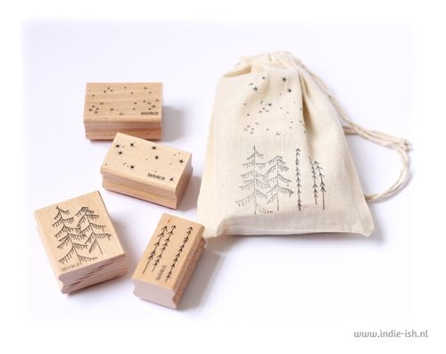 Stempel set winter forest sterren bos bastisrike - winter wood stamps by bastisRIKE at Indie-ish.nl