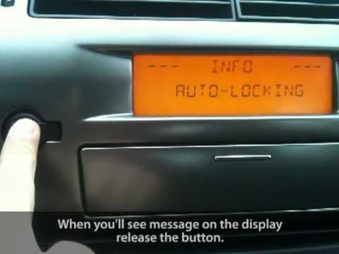 How to enable auto-locking central lock in Citroen C4 (anti hijack)
