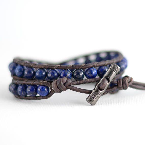Gift idea for her. Blue bracelet. Lapis lazuli jewelry.