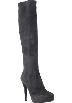 Stuart Weitzman, Giveitup Knee-High Boot in Slate Grey Suede