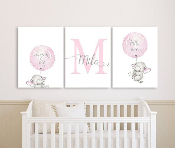 Elephant Baby Girl Nursery Wall Art Canvases Elephant Personalized Nursery Canvas Pink Gray M Baby Girl Nursery Diy Nursery Wall Art Girl Elephant Baby Rooms