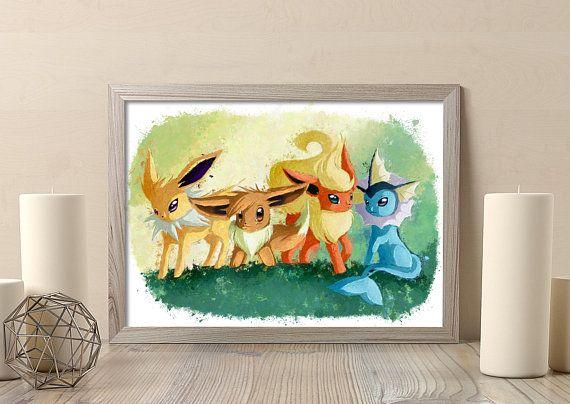 Vulpix Evolutions Pokemon Poster Art Print Watercolor Anime Print Poster