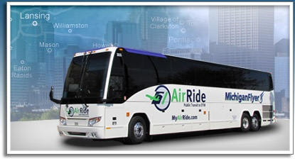 Michigan Flyer - inexpensive luxury motorcoach option for travel between East Lansing, Ann Arbor, and Detroit Metro Airport